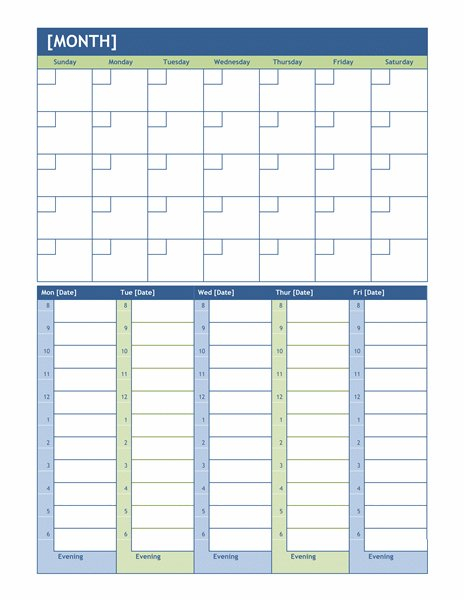 Monthly Calendar With Hourly Time Slots Weekly Calendar Template With Time Slots