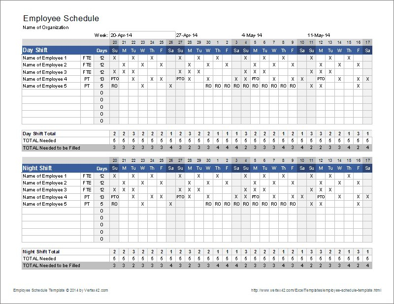 Monthly Employee Schedule Template Excel – Task List Templates Every 2 Week Calendar