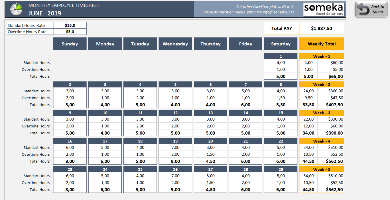 Monthly Employee Timesheet - Free And Printable Excel Template Excel Time Off Tracking Calander