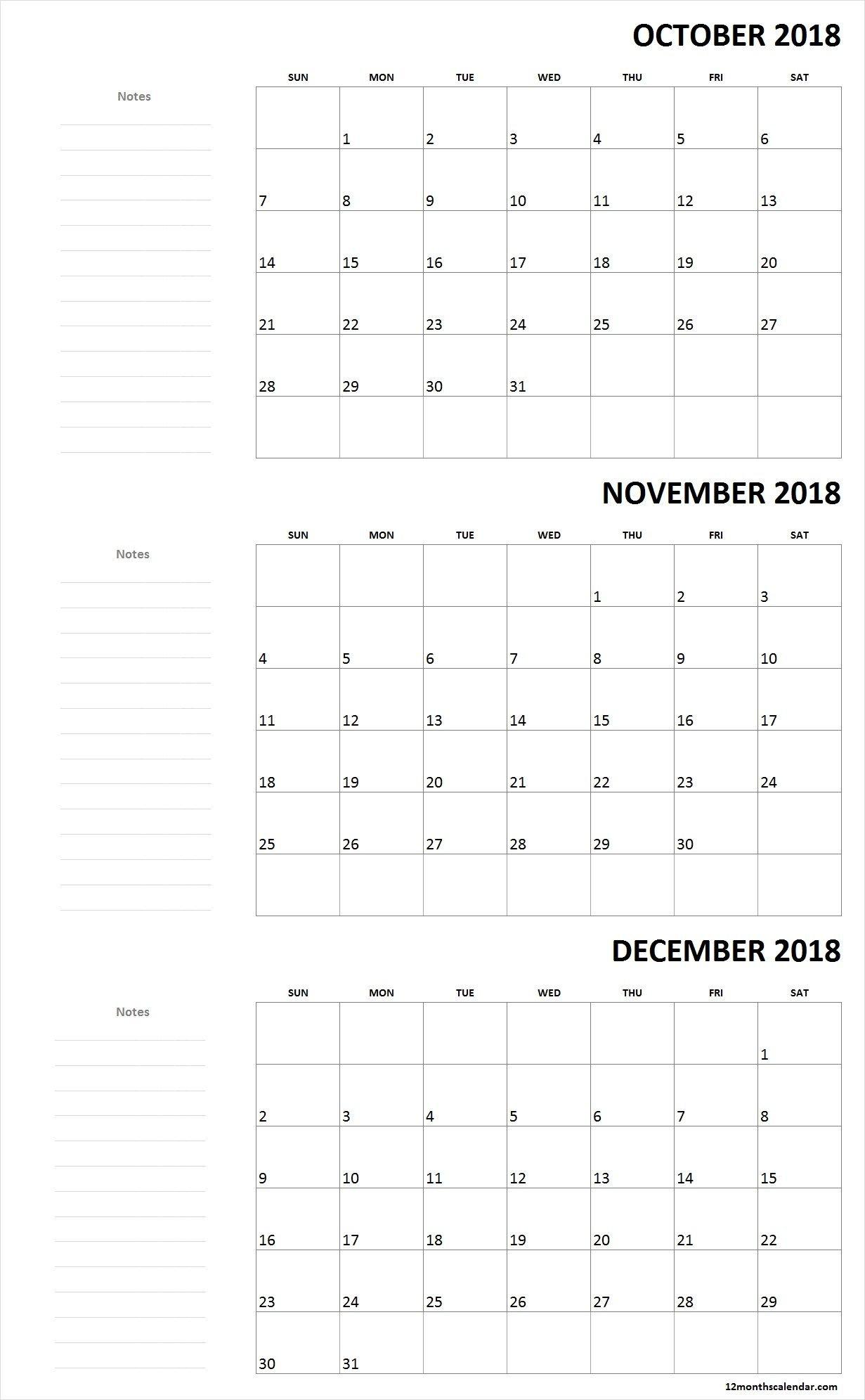 Monthly October November December Calendar 2018 With Notes 12 Months Calendar Editable