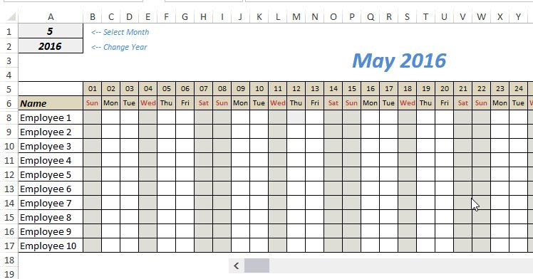 Monthly Roster Template – Planner Template Free Time Off Calendar Excel Template