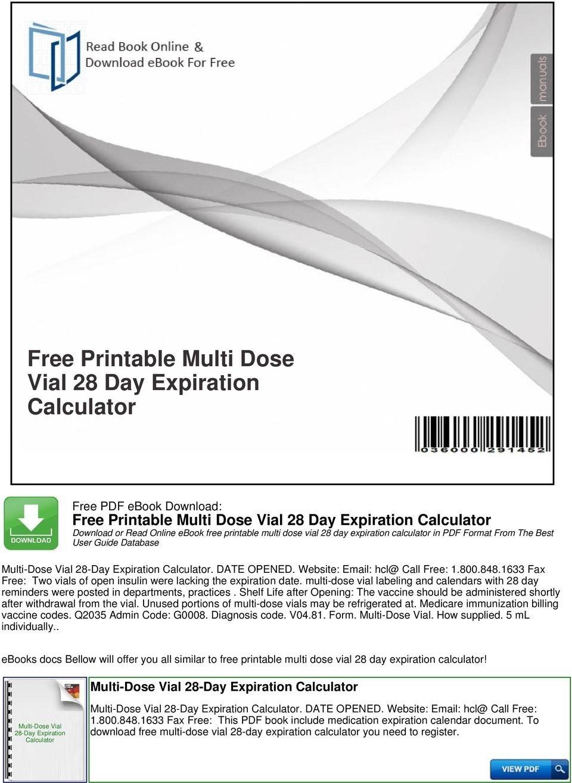Multi Dose Vial Expiration Calendar | Calendar Template 2020 28 Day Expiration Calendar