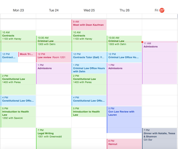 My Week As A 1L Color Coded Weekly Schedule