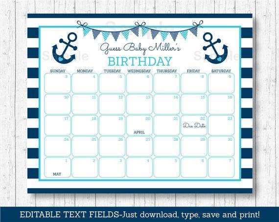 Nautical Anchor Birthday Predictions Calendar / Nautical Guess The Baby Born Date Pdf
