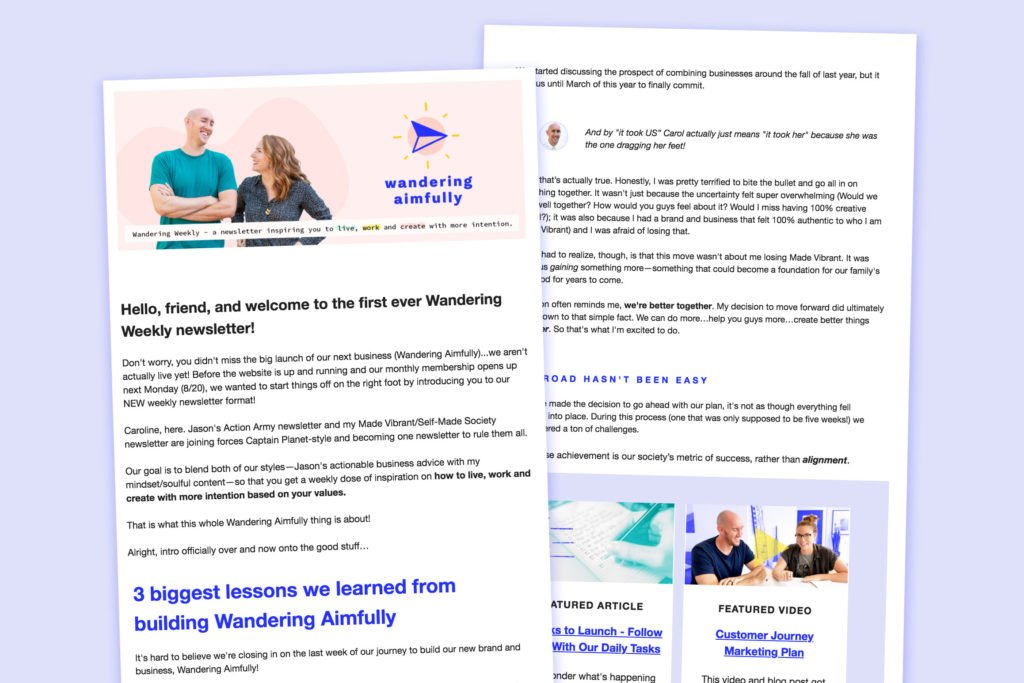 Newsletter-Example – Wandering Aimfully Content Calendar For Member Newsletters