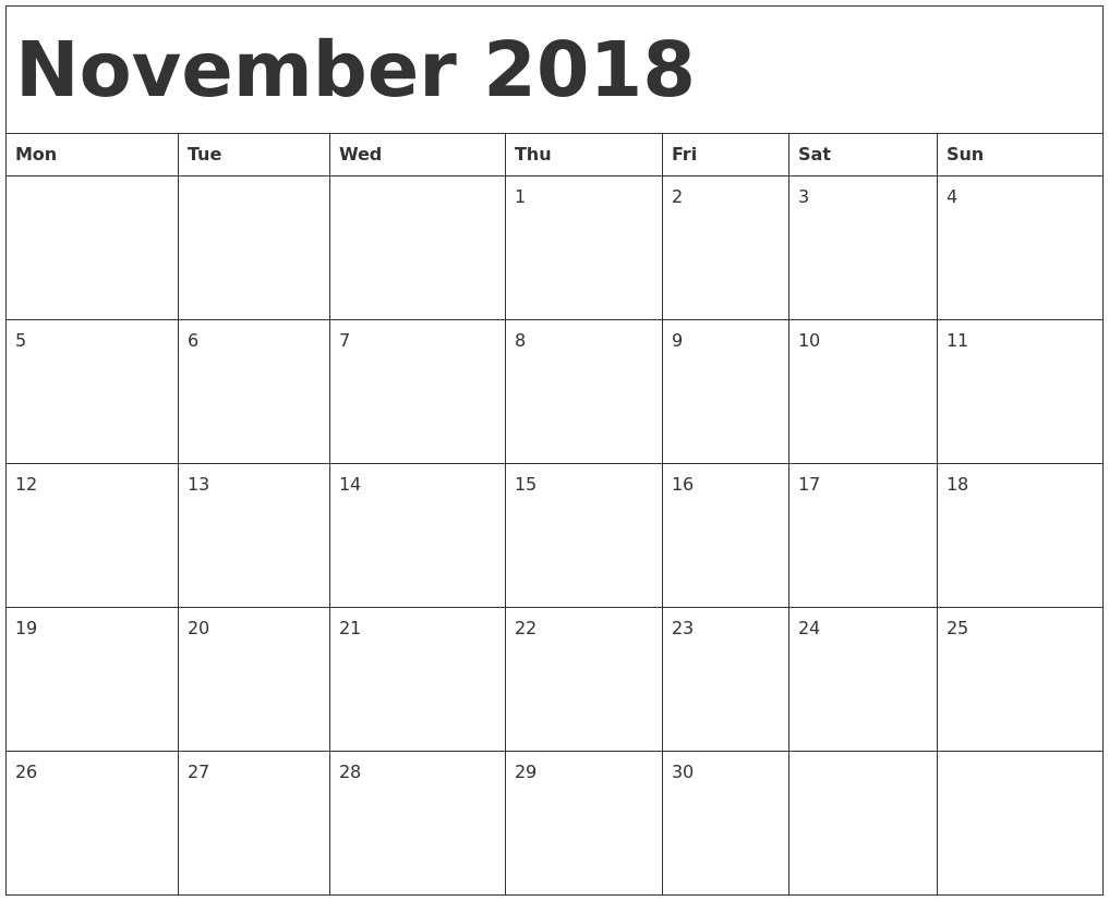 November 2018 Calendar Template May Calendar Starting On Monday