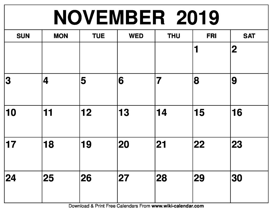November 2019 Printable Calendar - Free Blank Templates Empty Monday Through Sunday Schedule