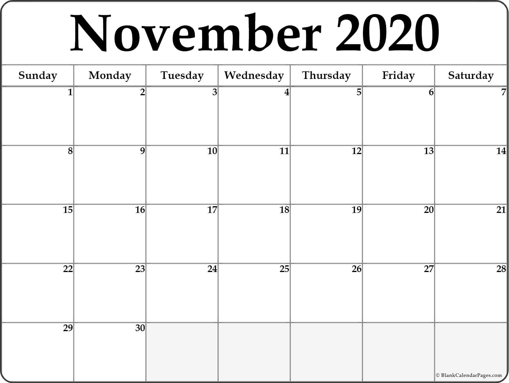 November 2020 Blank Calendar Templates. Hp Month Calendar Printable