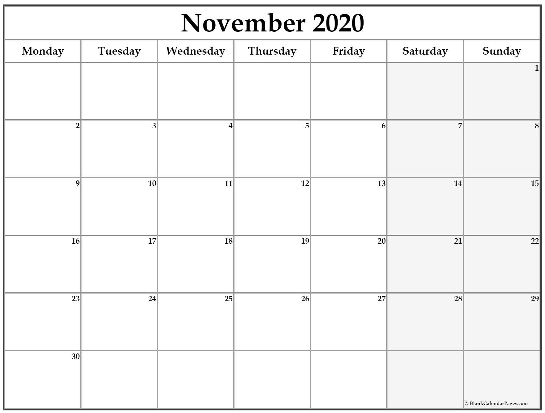 November 2020 Monday Calendar | Monday To Sunday June Calendar Monday Thru Sunday
