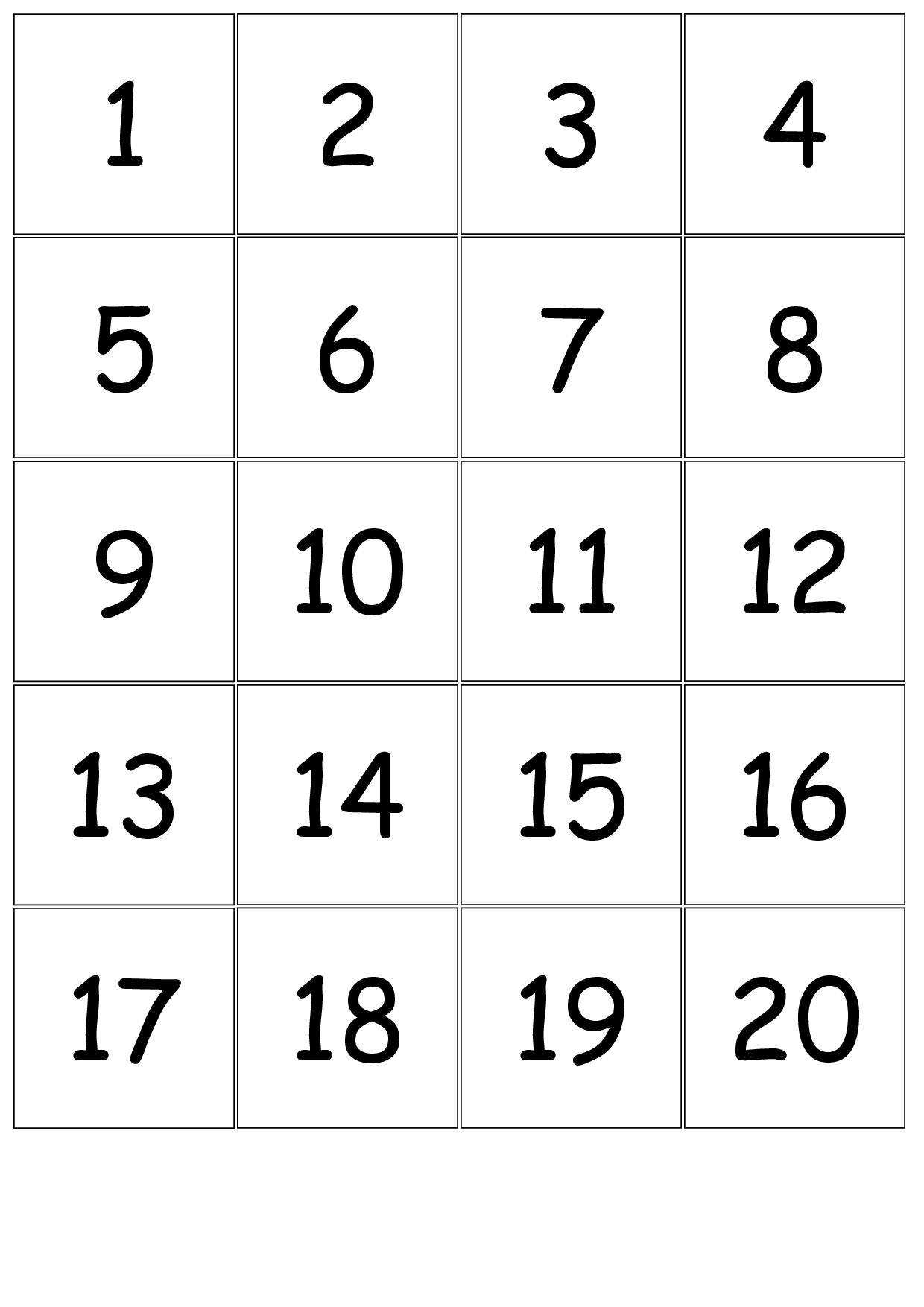 Number+Cards+1-20 | Printable Numbers, Number Cards Print Numbers 1 To 31
