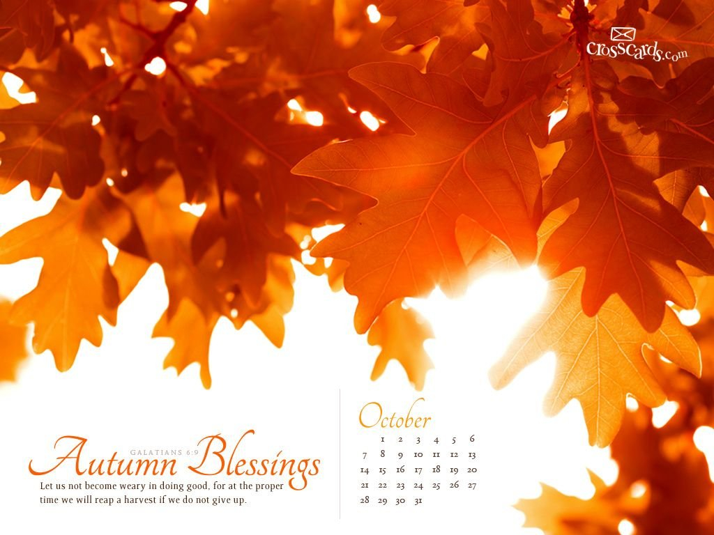 Oct 2012 - Autumn Blessings | October Wallpaper, Calendar Download Crosscards Monthly Calendar For Computer Background