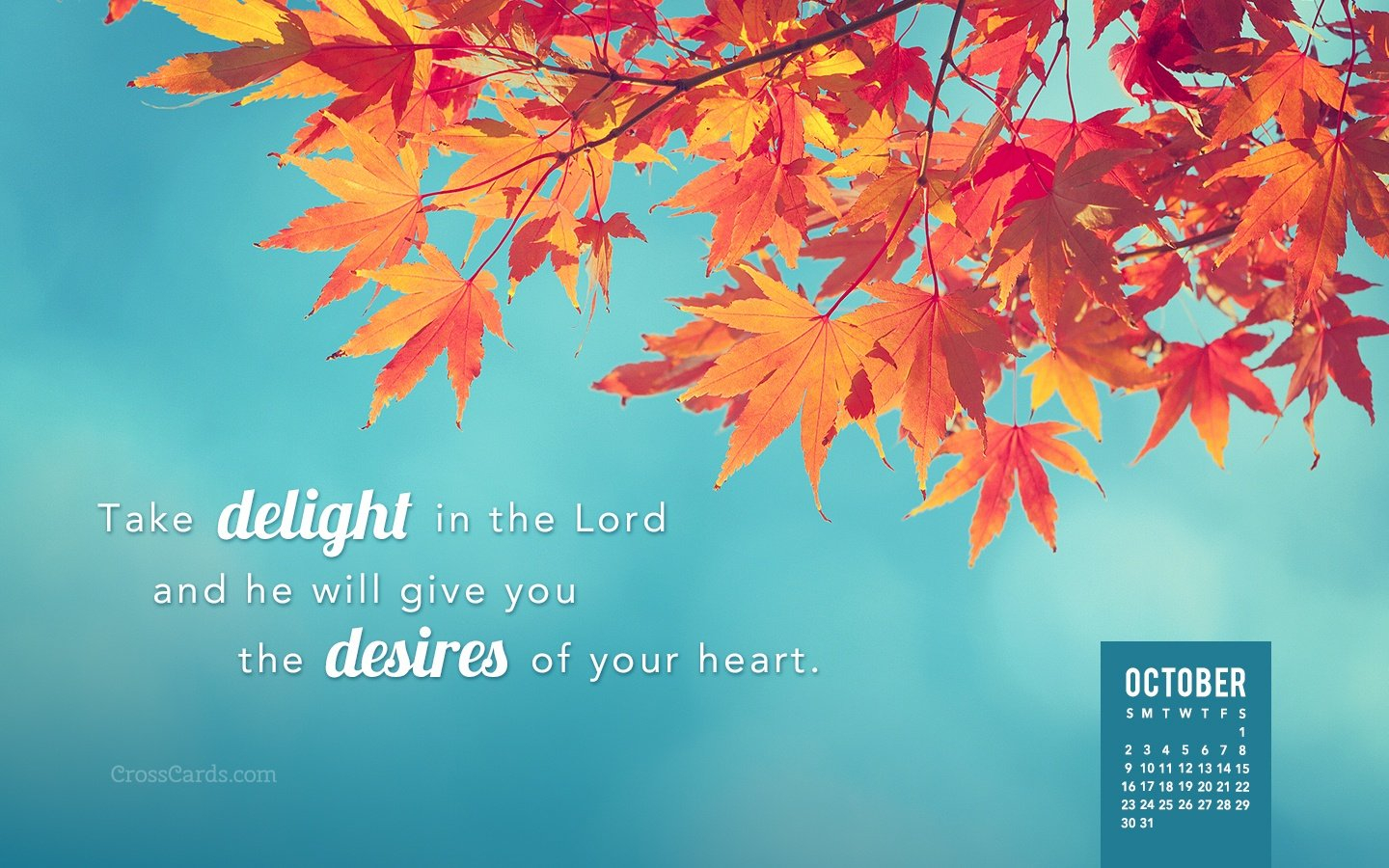 October 2016 - Take Delight In The Lord Desktop Calendar Download Crosscards Monthly Calendar For Computer Background