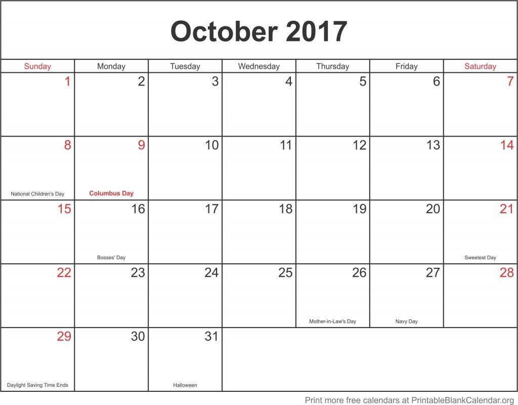 October 2017 Free Printable Calendar - Printable Blank Calendar Fill In Template