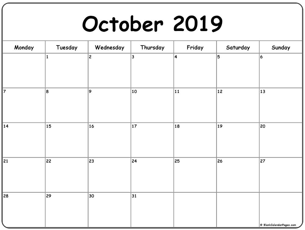 October 2019 Monday Calendar | Monday To Sunday | October Sunday Through Saturday Template