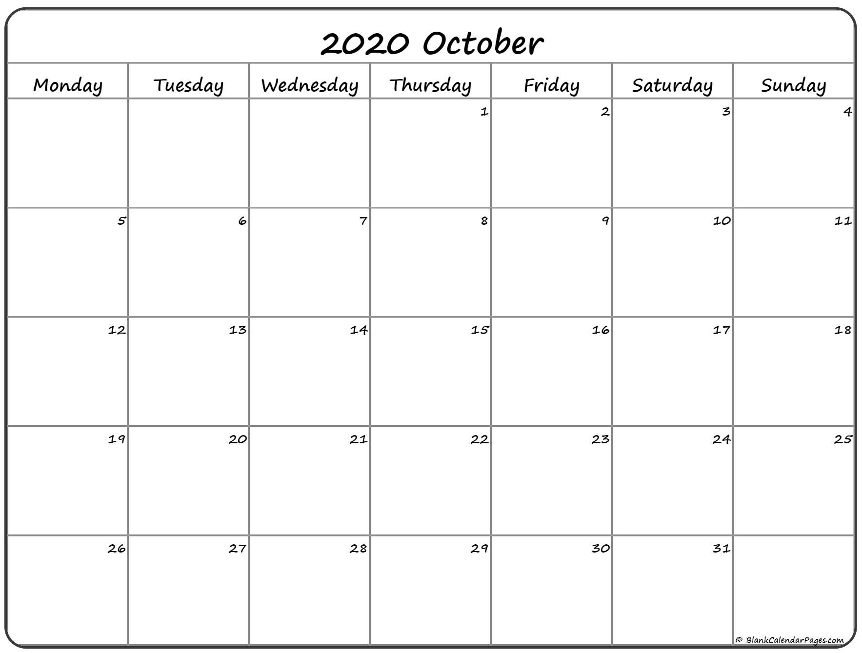 October 2020 Monday Calendar | Monday To Sunday Monday Through Sunday Planner