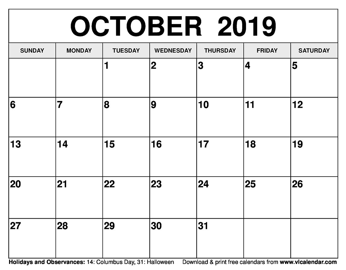 October Calendar 2019 Mon – Fri | Calendar Template Mon-Fri Monthly Calendar Template