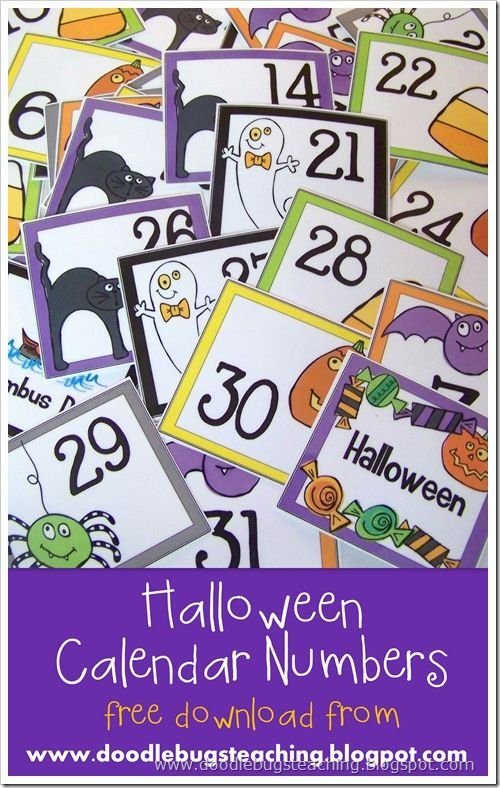 October Calendar Cards 1-31 {Free Download} Www Printable Numbers 1-31 Classroom Sets