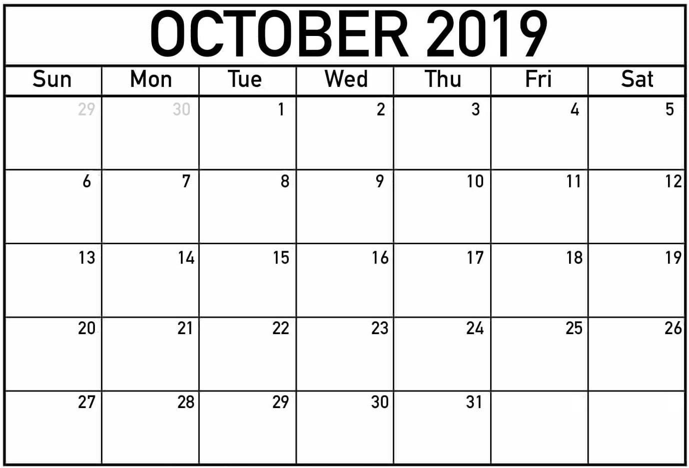 October Calendar Mon-Fri | Calendar Template Printable Free Printable Calendar Mon To Fri