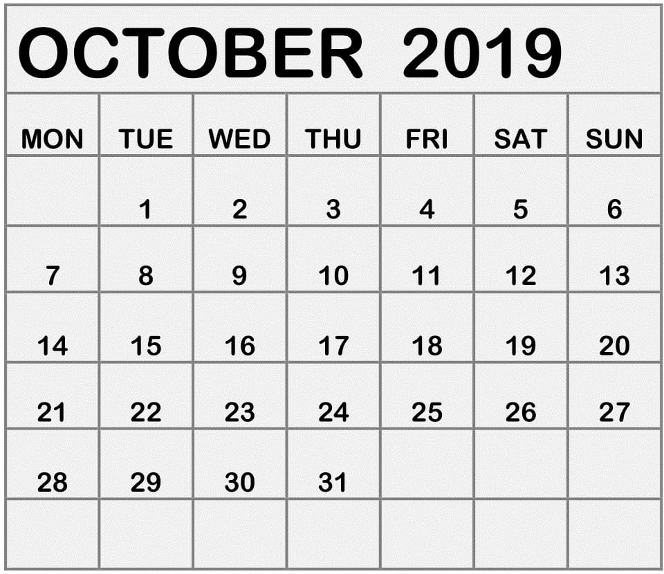 October Calendar Mon-Fri | Calendar Template Printable Mon-Fri Monthly Calendar Template