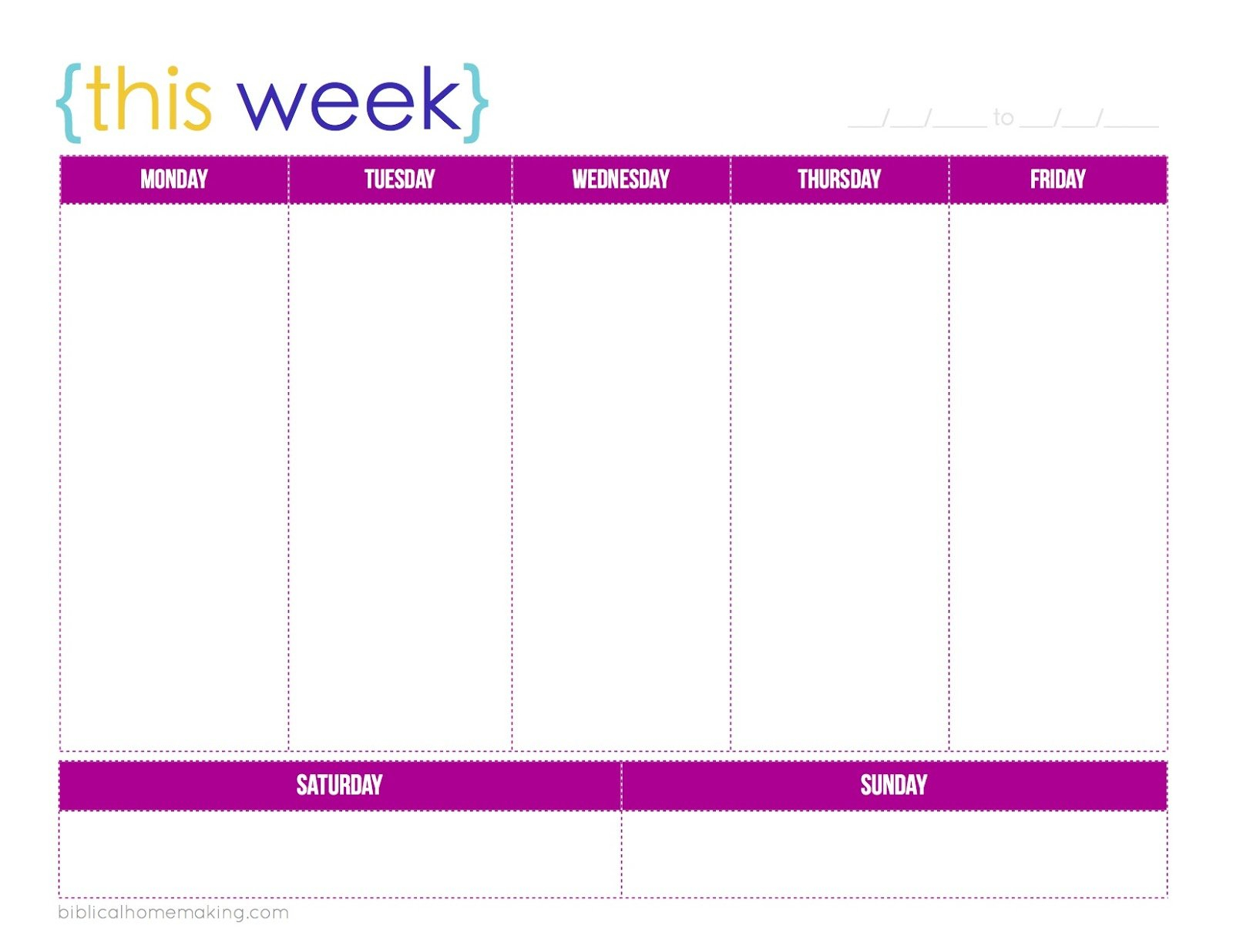 One Week Monday Through Friday Calendar Template | Example Weekly Calendar Saturday To Friday
