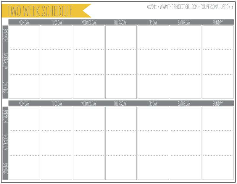 Organization | Jenallyson - The Project Girl - Fun Easy 4 Week Blank Calender Template