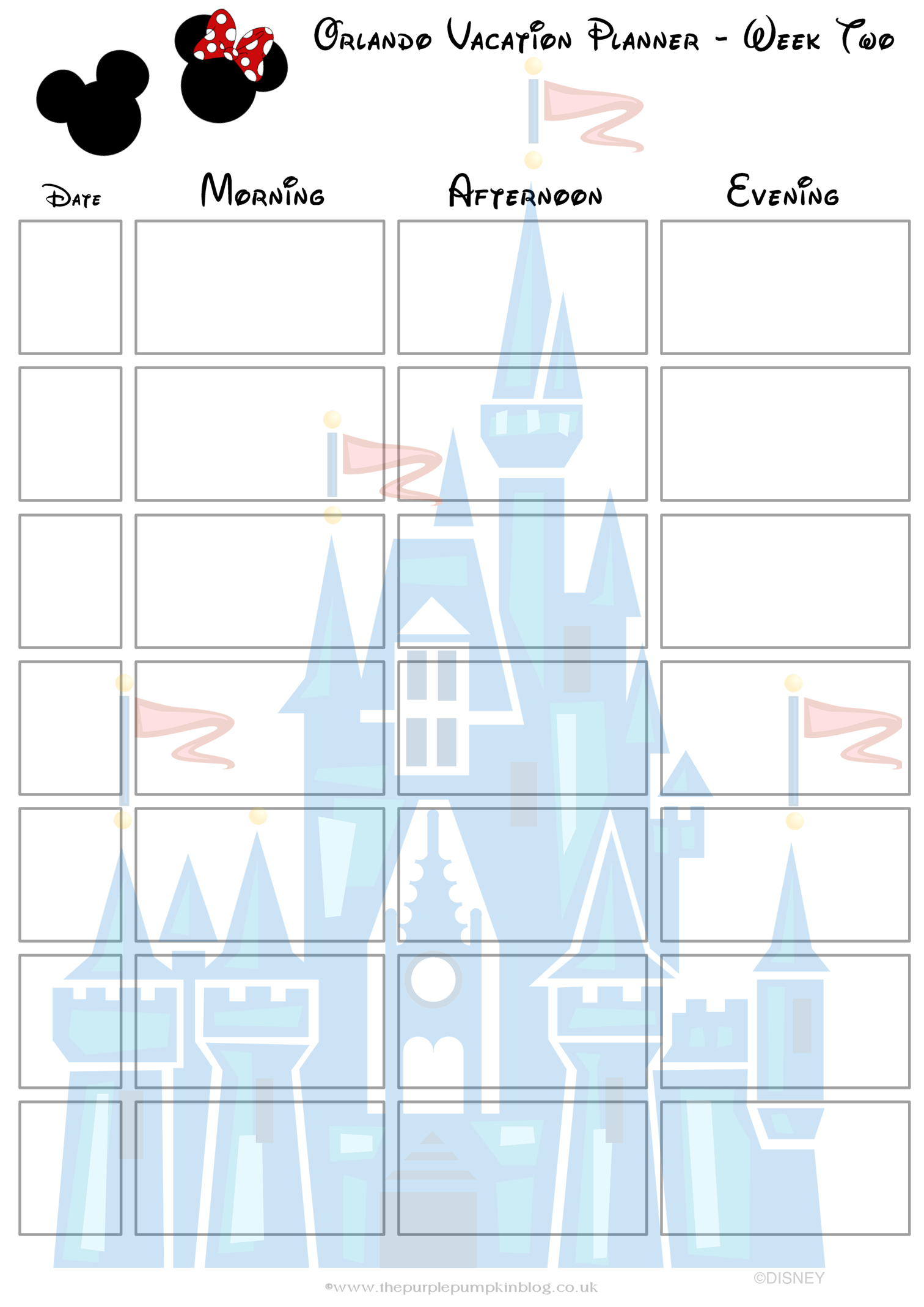 Orlando, Walt Disney World Vacation Planner | Free Printable 2 Week Planner Printable
