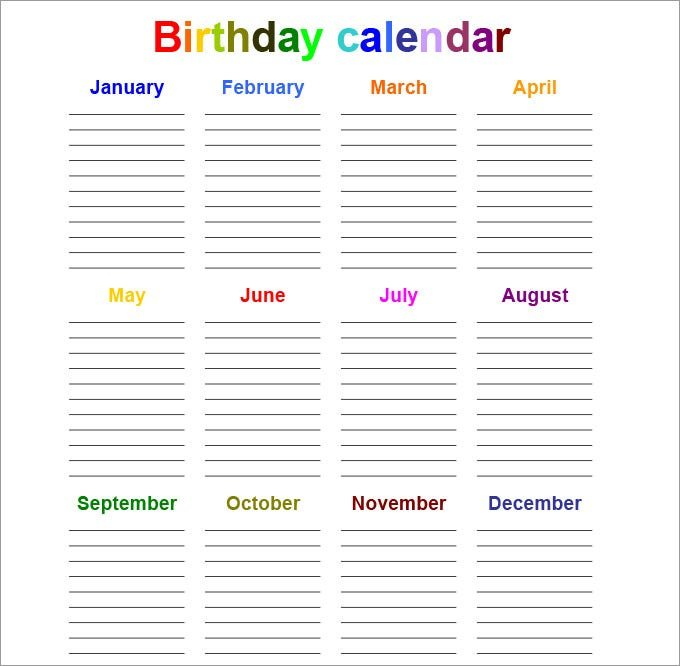 Perpetual Calendar - Calendar Template | Free & Premium Free Calendar Template For Birthdays