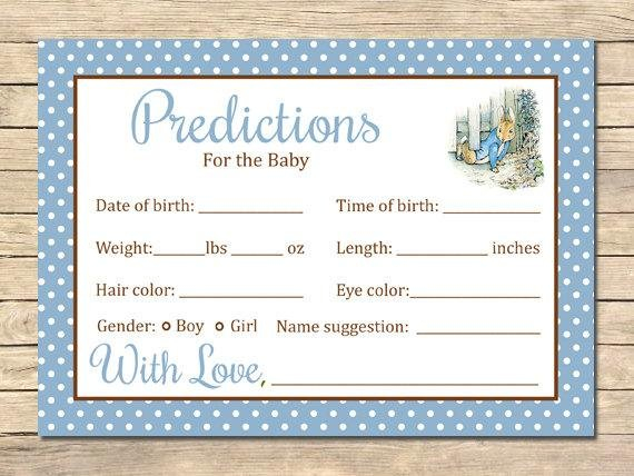 Peter Rabbit Predictions For The Baby Printable Cards And Guess The Baby Weight And Date Template