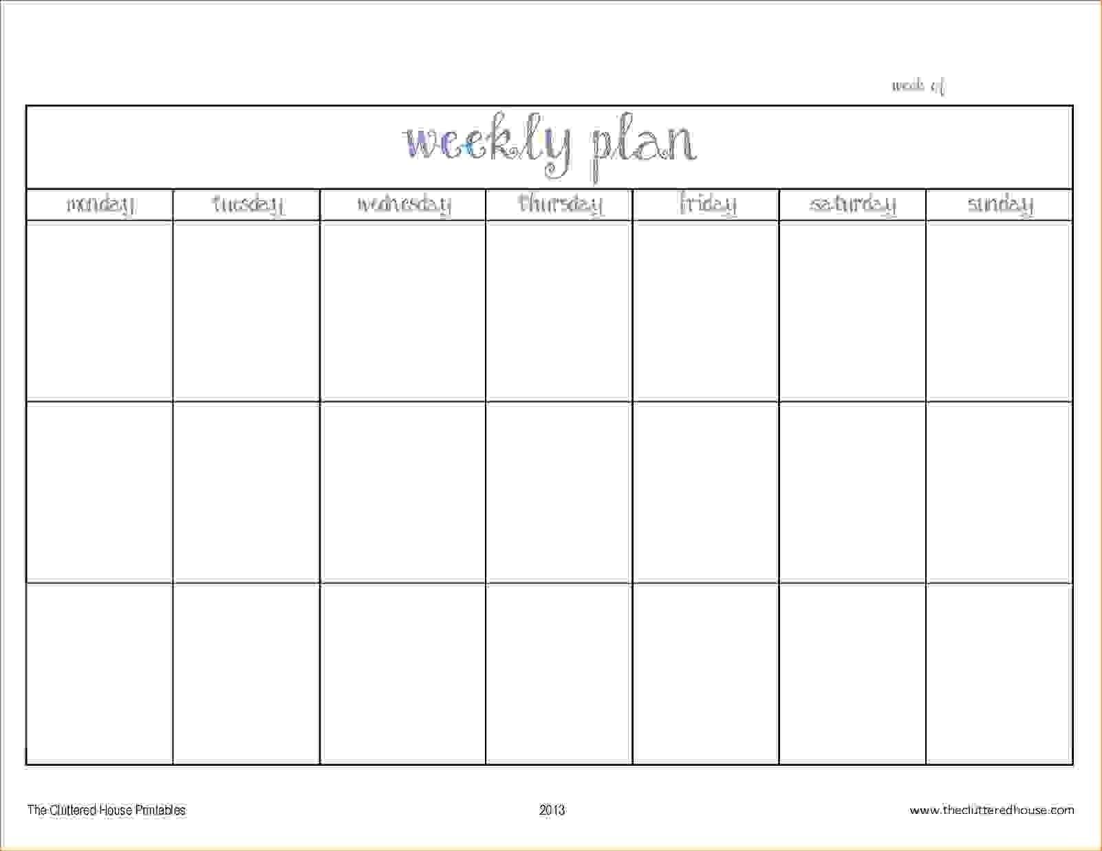 Pick Blank Two Week Schedule Template (With Images Blank 2 Week Schedule