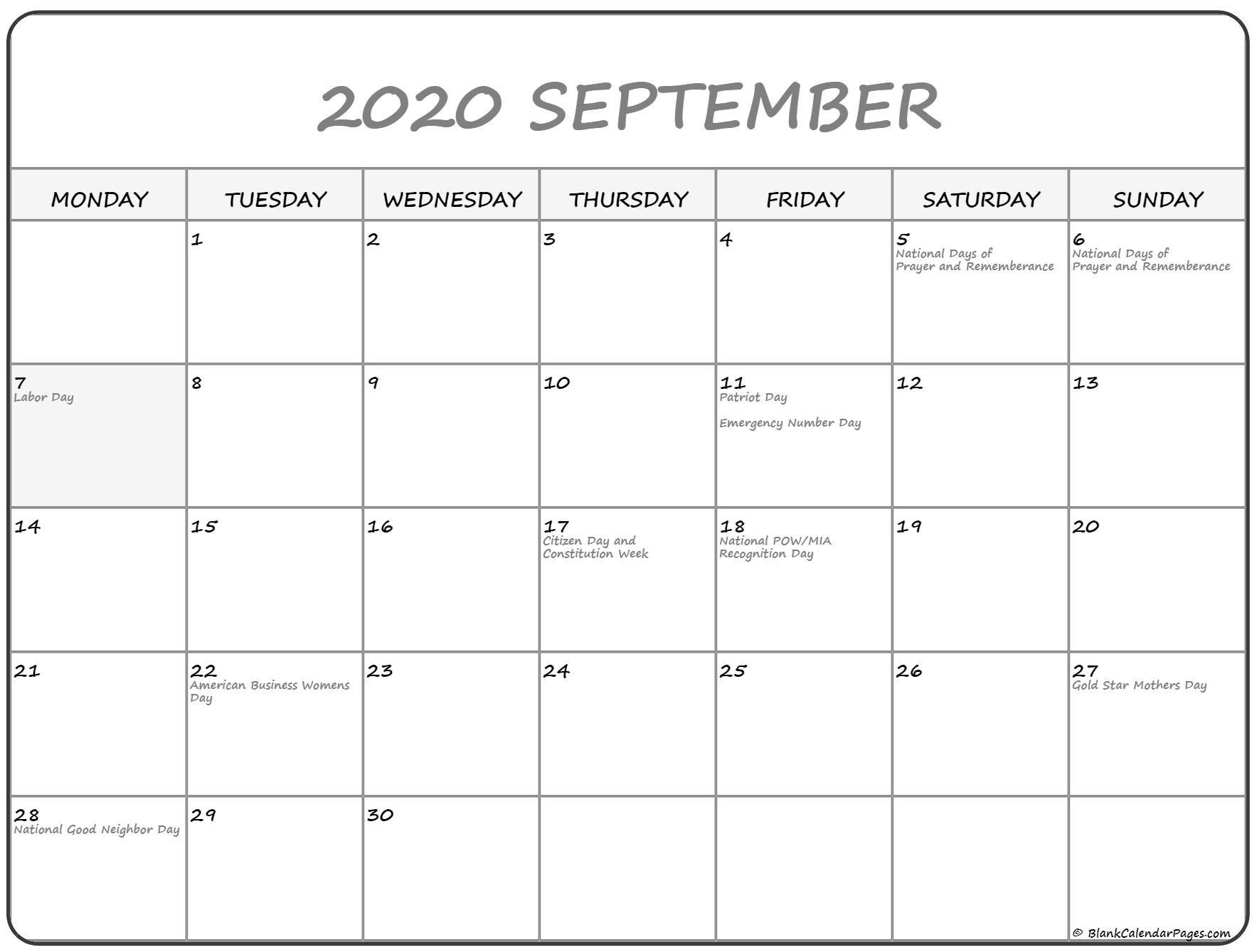 Pick September 2020 Monday Through Sunday | Calendar June Calendar Monday Thru Sunday
