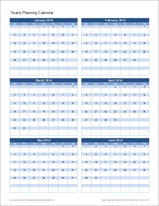 Planning Calendar Template - Yearly 5 Year Schedule Excel