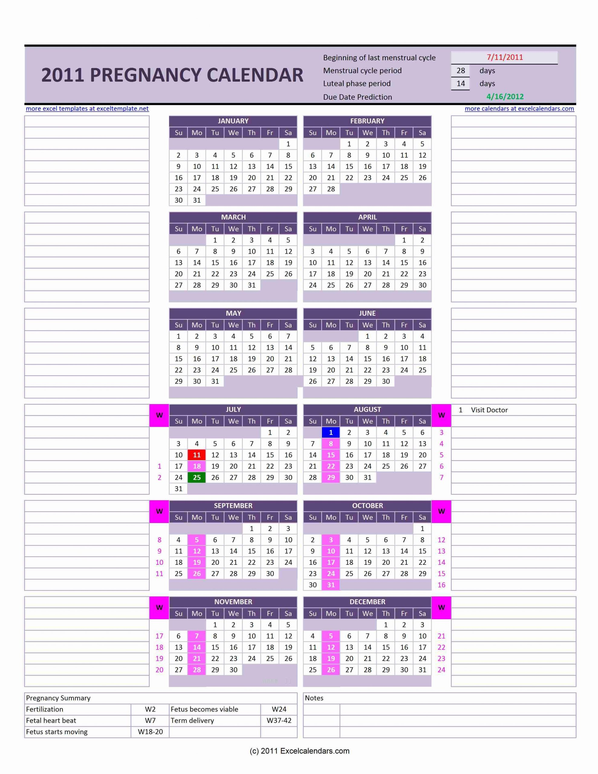 Pregnancy Calendar   Excel Calendars Excel Week By Week Calendar