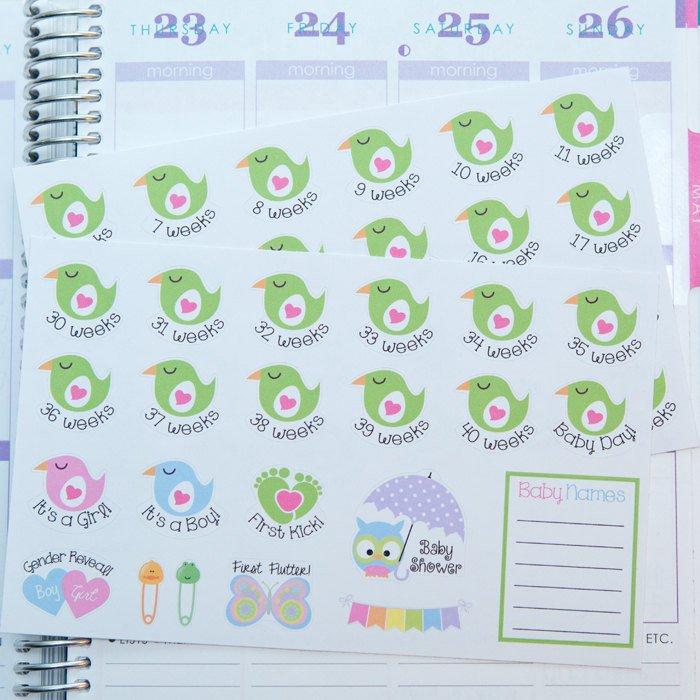 Pregnancy Planner Stickers Weekly Countdown & Events Mitrinty Count Down Calendar
