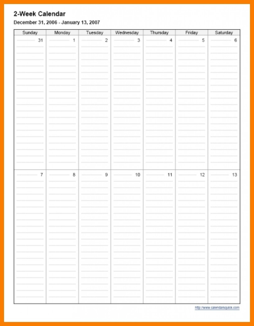 Print 2 Week Calendar | Month Calendar Printable Printable Two Week Calendar
