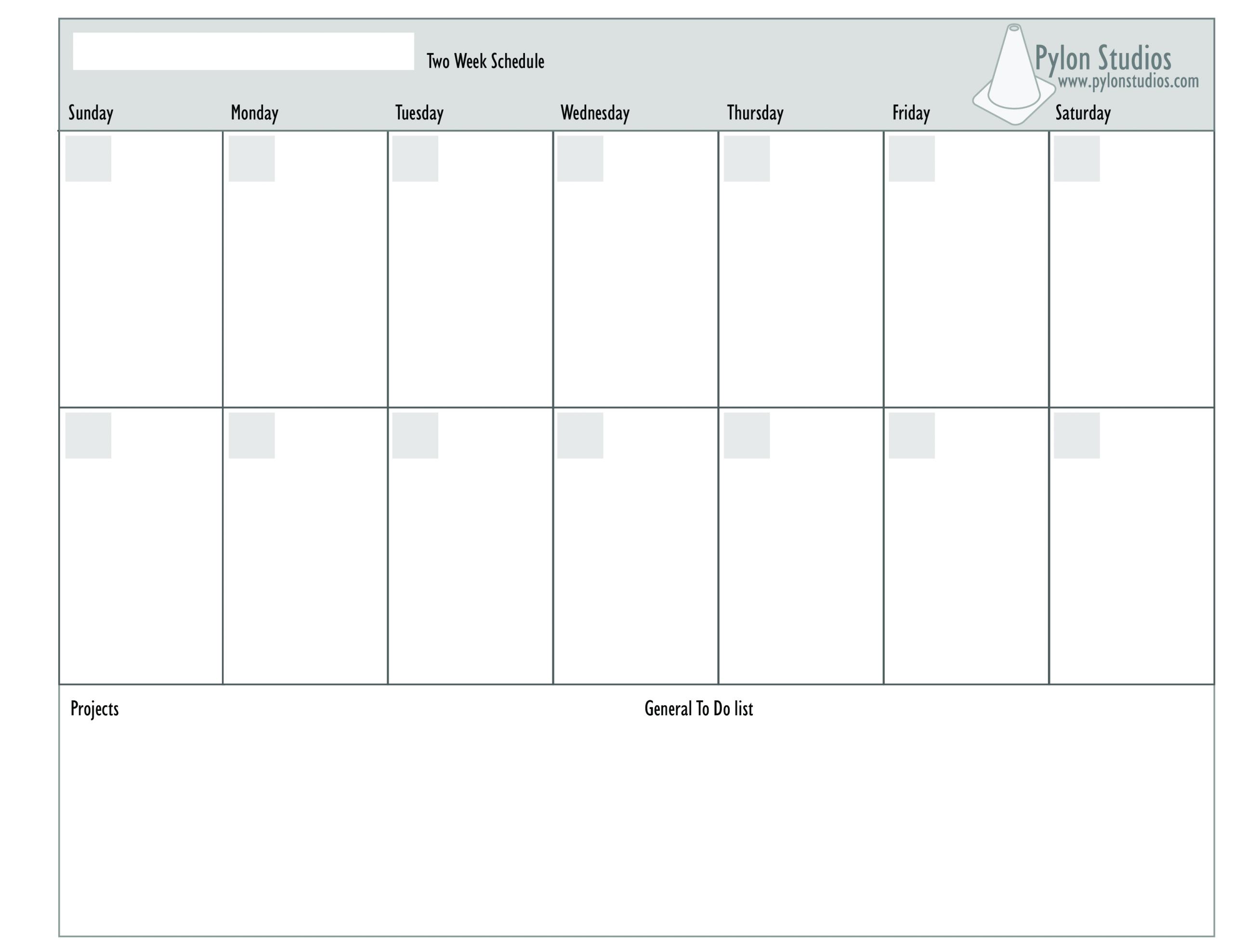 Printable 2 Week Blank Calendar Template | Example Two Week Calendar Template Word