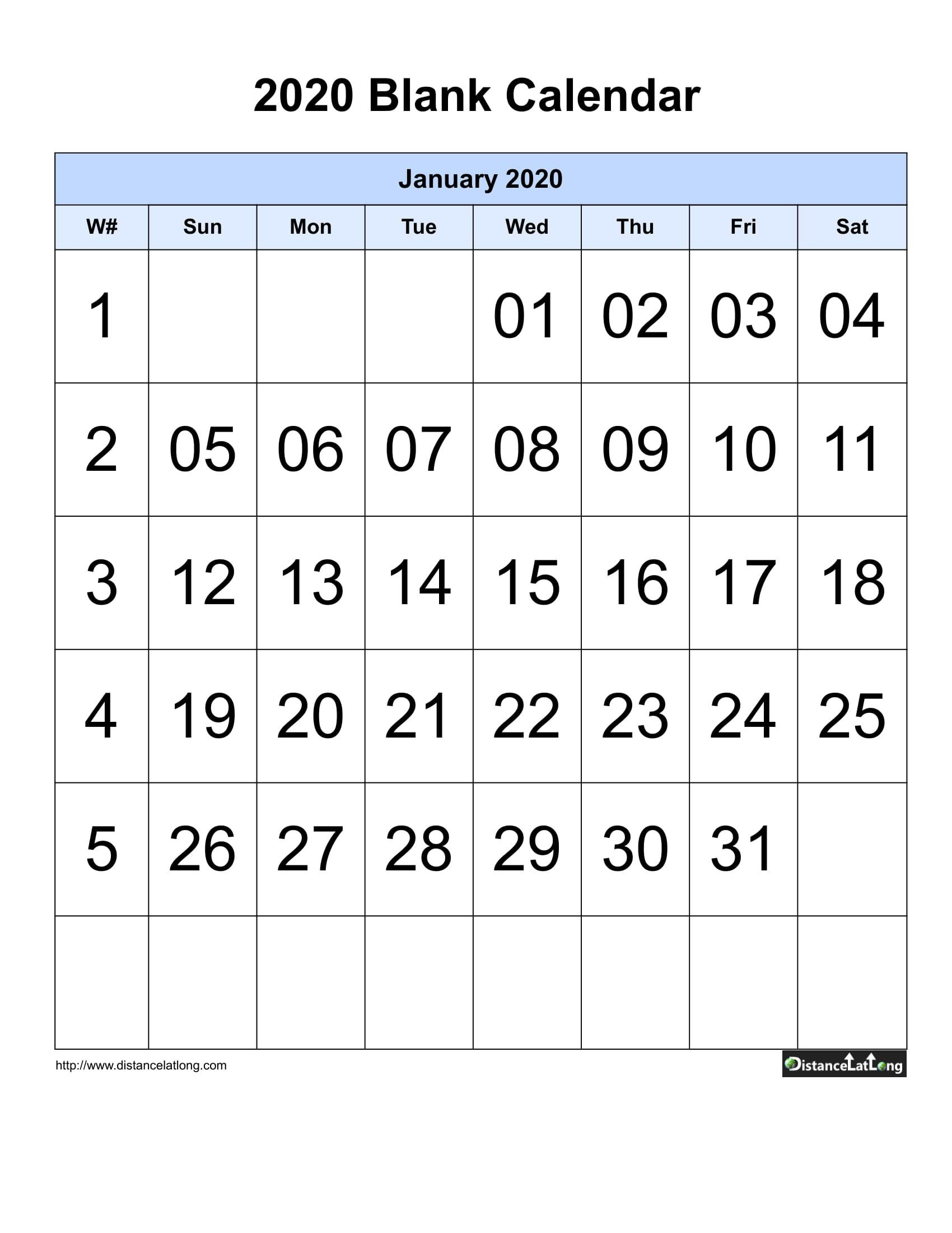 Printable 2020 Blank Calendar Blank Portrait Orientation Blank Sunday Through Saturday Calendar
