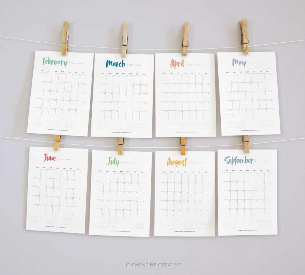 Printable 2020 Calendar {A Pretty Monthly Calendar Planner} 2 Week Calender Block Printable Sunday To Sunday