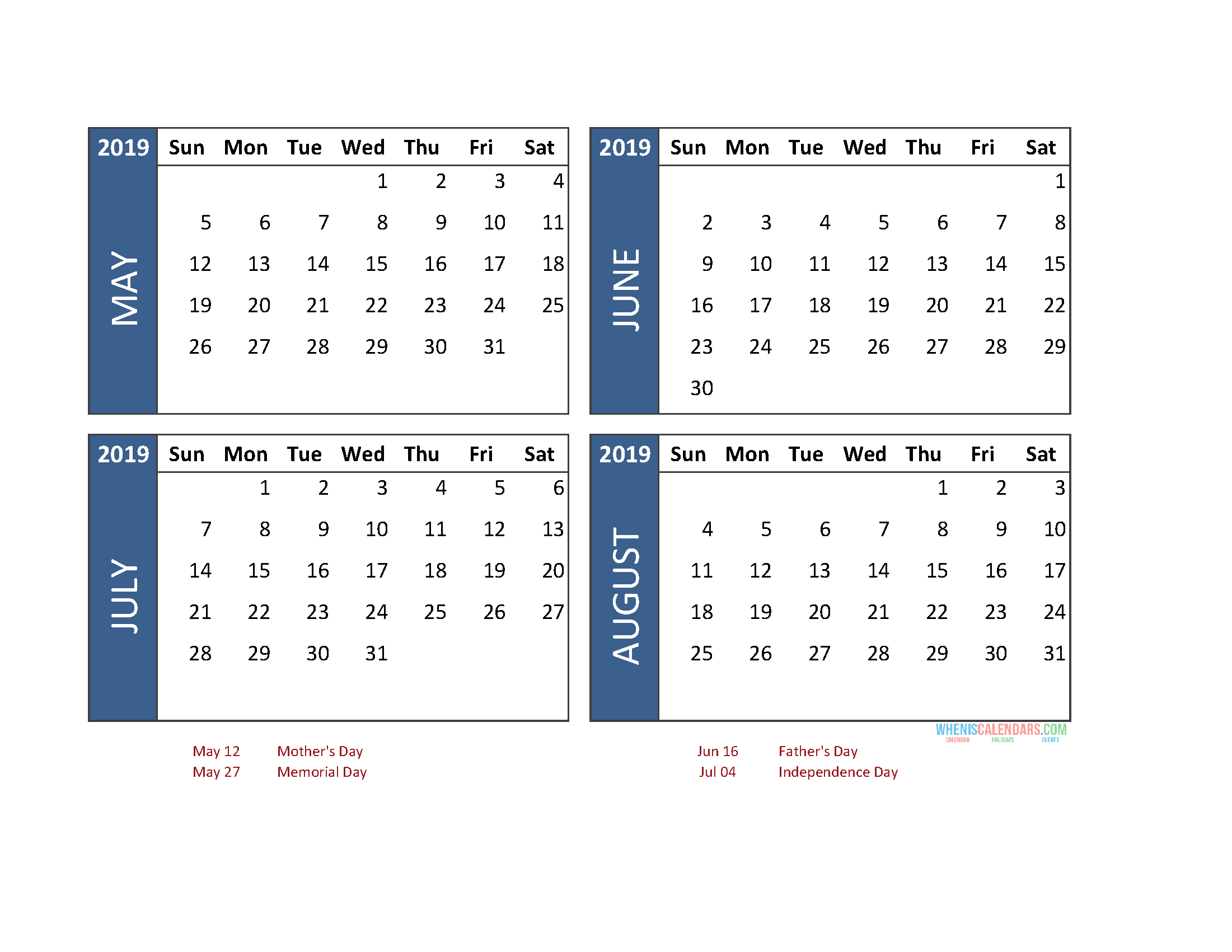 Printable 4 Month Calendar 2019 May June July August Printable Calendar For The Week Of March 2 Thru March 6