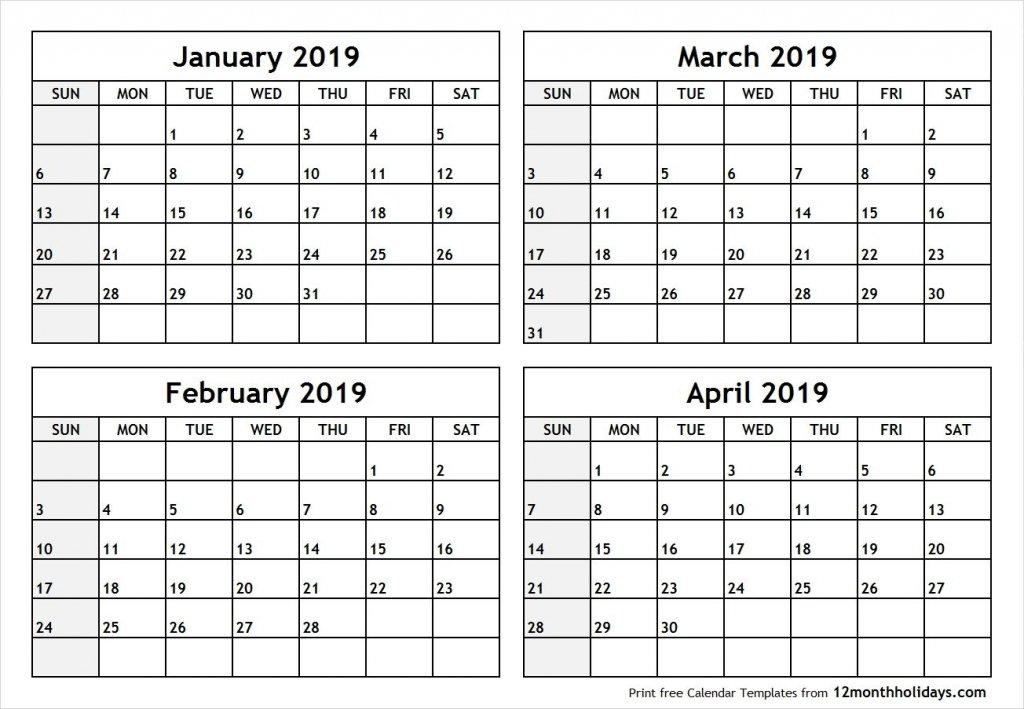 Printable 4 Month Calendar You Pick The Months – Calendar 4 Week Blank Calender Template