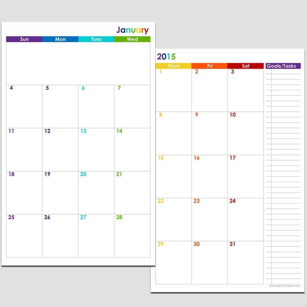 Printable 5.5 X 8.5 Monthly Calendar | Example Calendar Weekly Planner Template 5.5