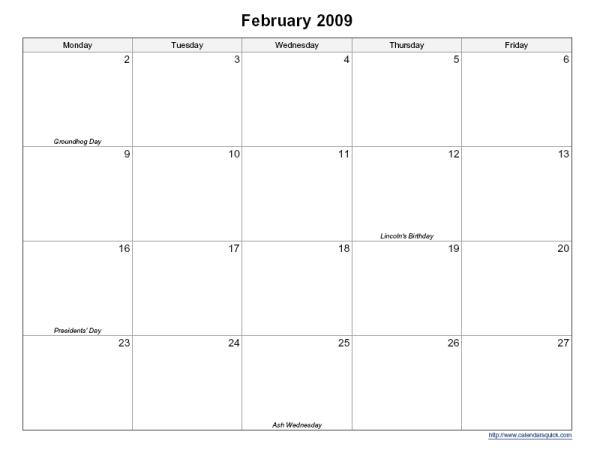 Printable 5-Day Monthly Calendar - Calendarsquick 5 Day Calendar Free Template