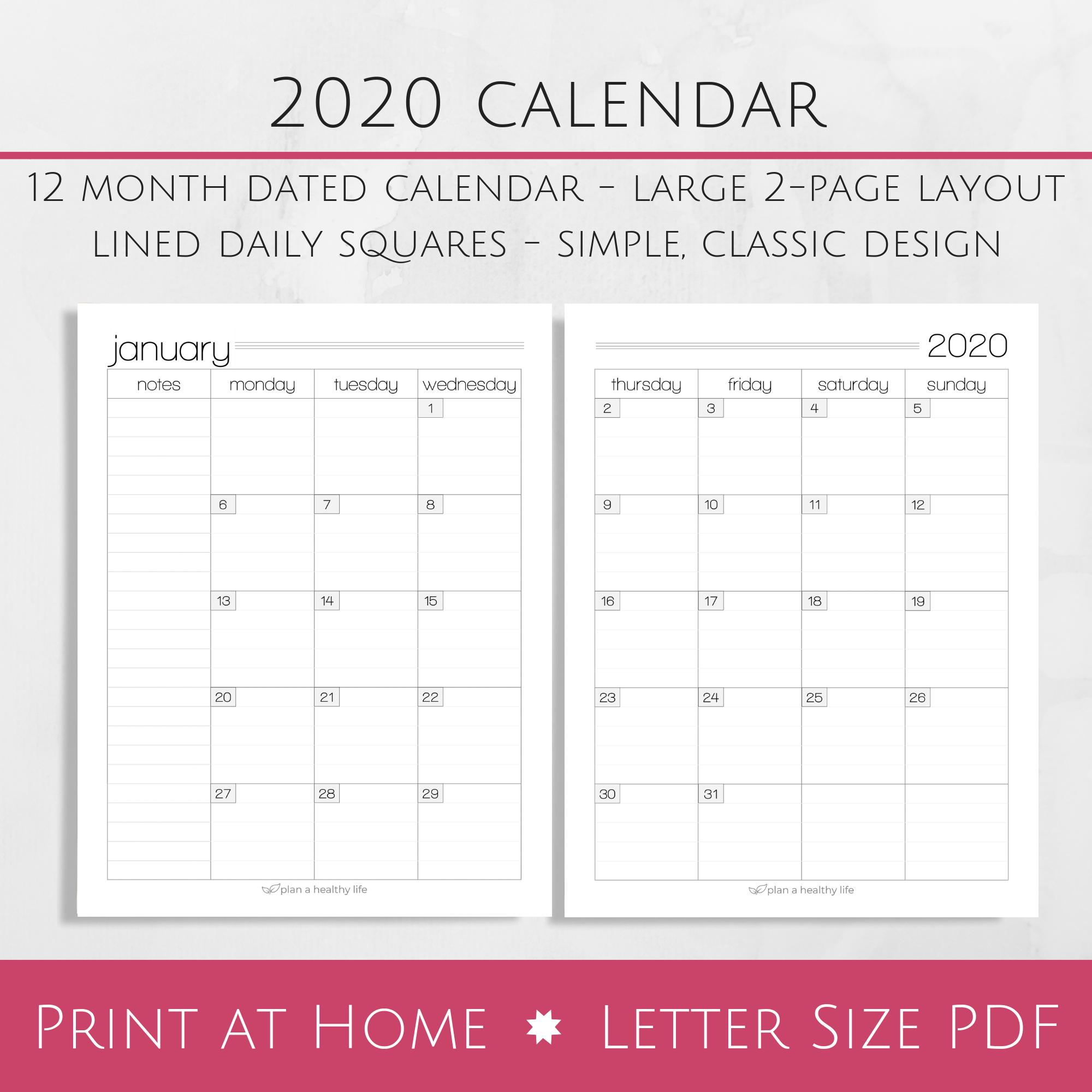 Printable 8.5 X 11 2020 Calendar | Calendar Template 8 1/2 By 11 Inch Monthly Calendar