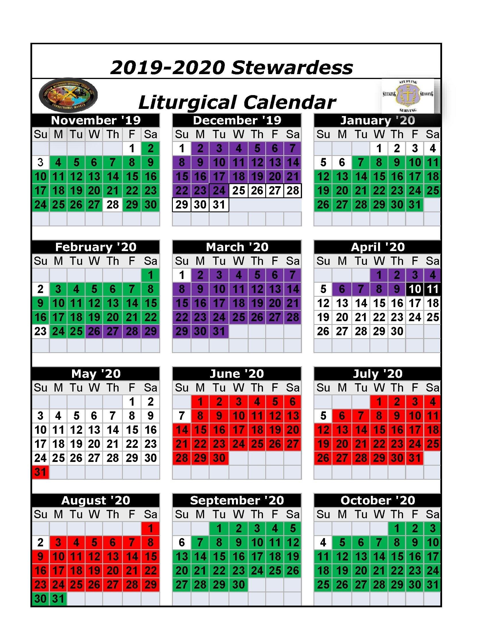 Printable Ame Liturgical Color Calendar 2020 - Calendar Liturgical Colors Calendar For Methodist