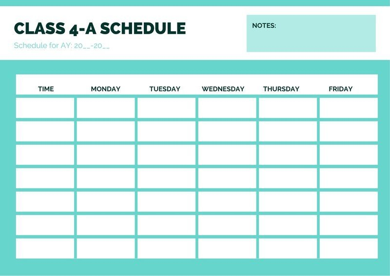 Printable And Customizable Class Schedule Templates | Canva School Calendar Monday Thru Friday