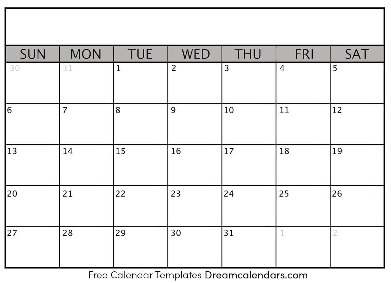 Printable Blank Calendar 2021 | Dream Calendars Free Printable Monthly Calendar Without Download