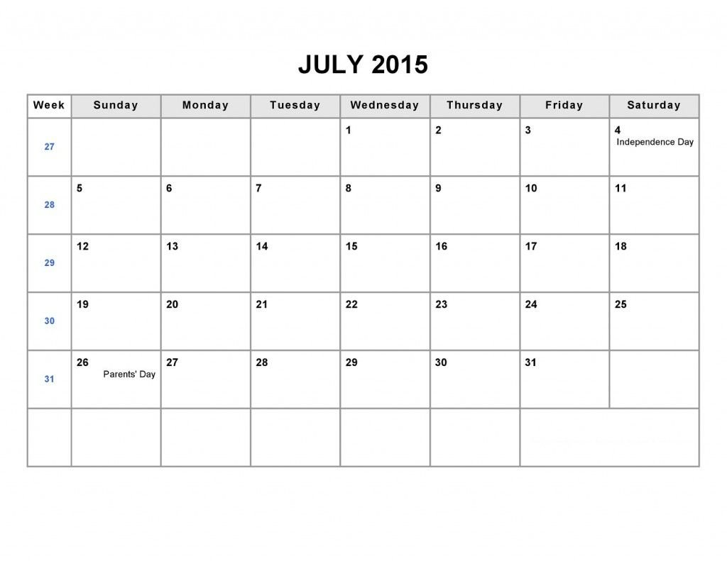 Printable Blank Monthly Calendar 2015 Part 2/2 | Blank Blank Lined Monthly Calendar Template