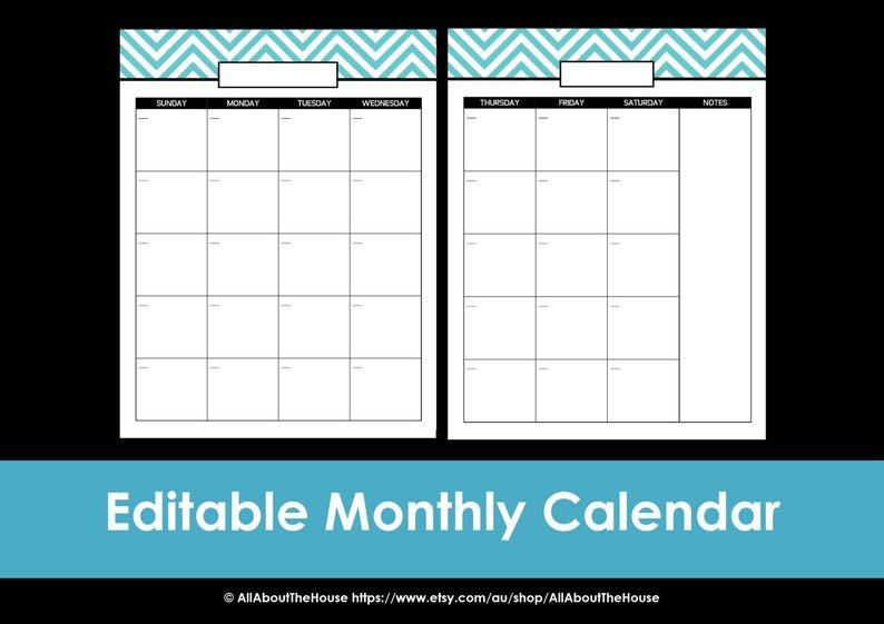 Printable Calendar 2 Page Month Printable Us Letter & Half 2 Page Printable Monthly Calendar