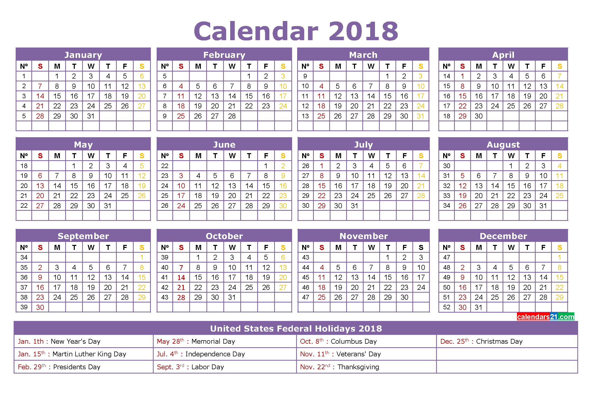 Printable Calendar 2018 With Holidays Full Year (4 Free 4 Year Calendar Printable