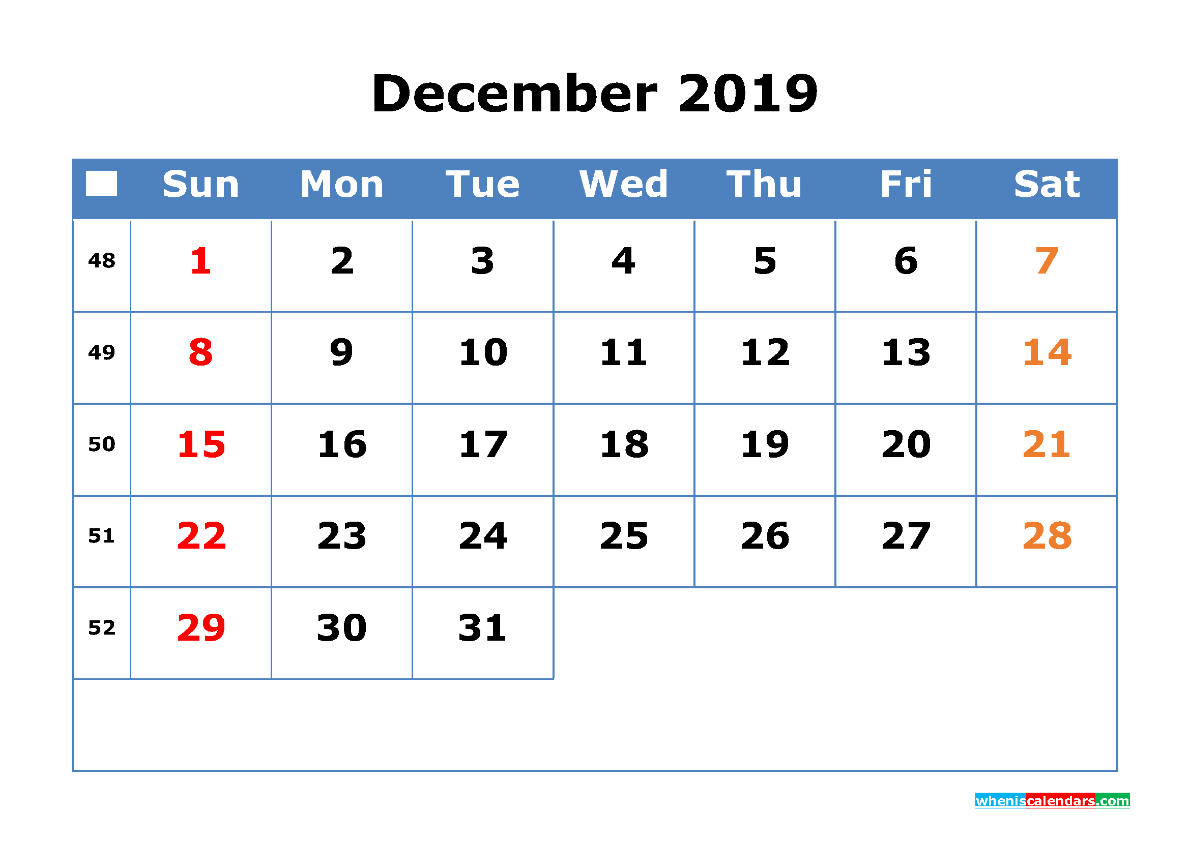 Printable Calendar 2019 December With Week Number | Free 2 Week Calendar March
