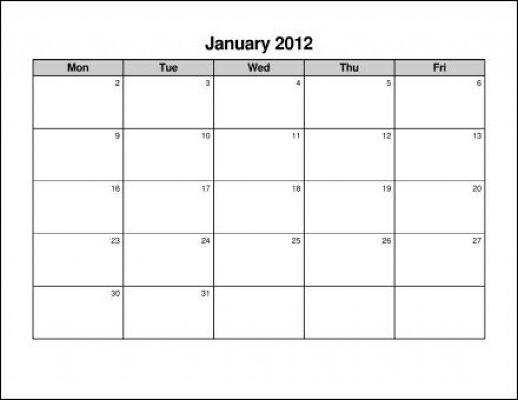 Printable Calendar Monday To Friday :-Free Calendar Template Monday Thru Friday Printable Calendar